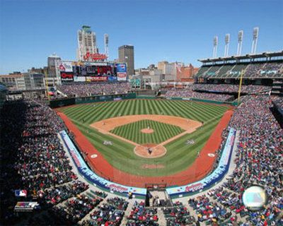 Cleveland Indians baseball stadium. I was there with my son on our baseball stadium trip when he was 13