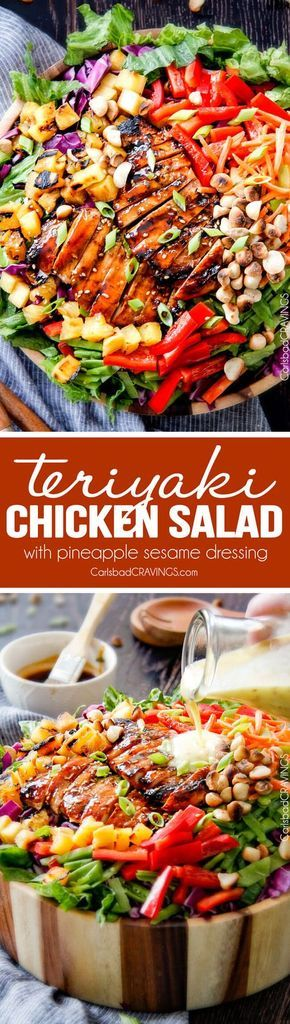 Teriyaki Chicken Salad - This salad is to live for! Packed with refreshing pineapple, macadamia nuts and coconut all doused with the most AMAZING Pineapple Sesame Dressing and the Sweet Chili Teriyaki Chicken is incredible!  But my favorite part is you drizzle the leftover Teriyaki glaze all over the salad!  Definitely a keeper! via @Carlsbad Cravings