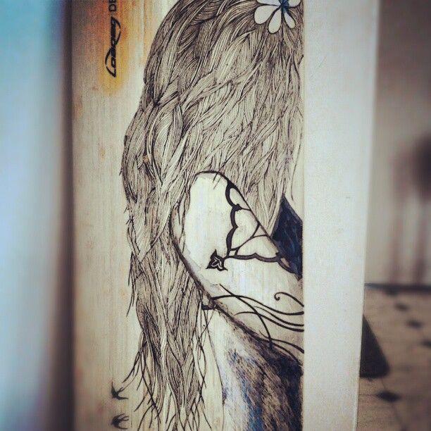 Custom hand inked & painted bamboo Loaded longboard deck.