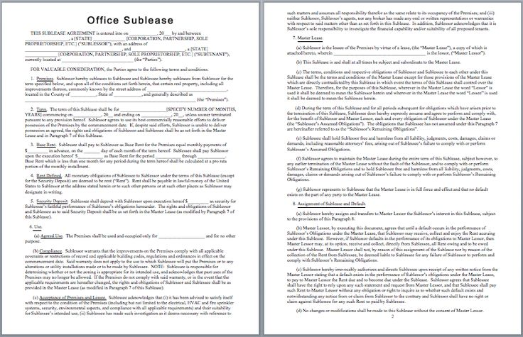 Office Sublease Agreement Template  Templates    Template