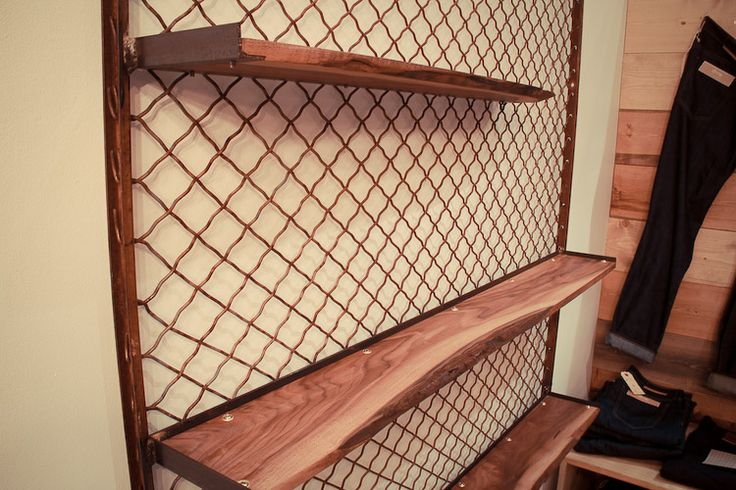 Salvaged Chain Link Fence Framed Walnut Shelving Made