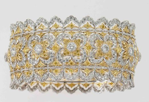 Gianmaria Buccellati Bracciale in platino e oro giallo con diamanti bianchi taglio a rosa e brillante e diamanti gialli.