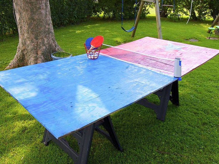 love this! 1 sheet of plywood and sawhorses. create an outdoor ping pong table! I would cut it in the middle and put a hinge for easier storage later.