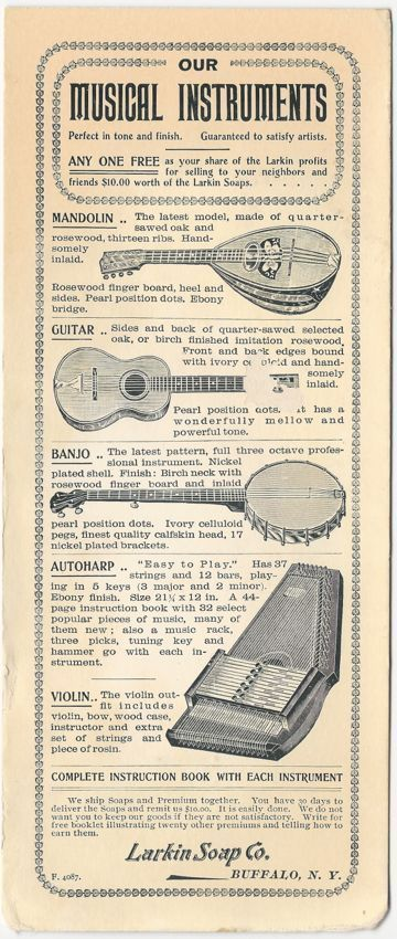 Larkin Soap Company Musical Instrument Premiums -  Advertising Blotter