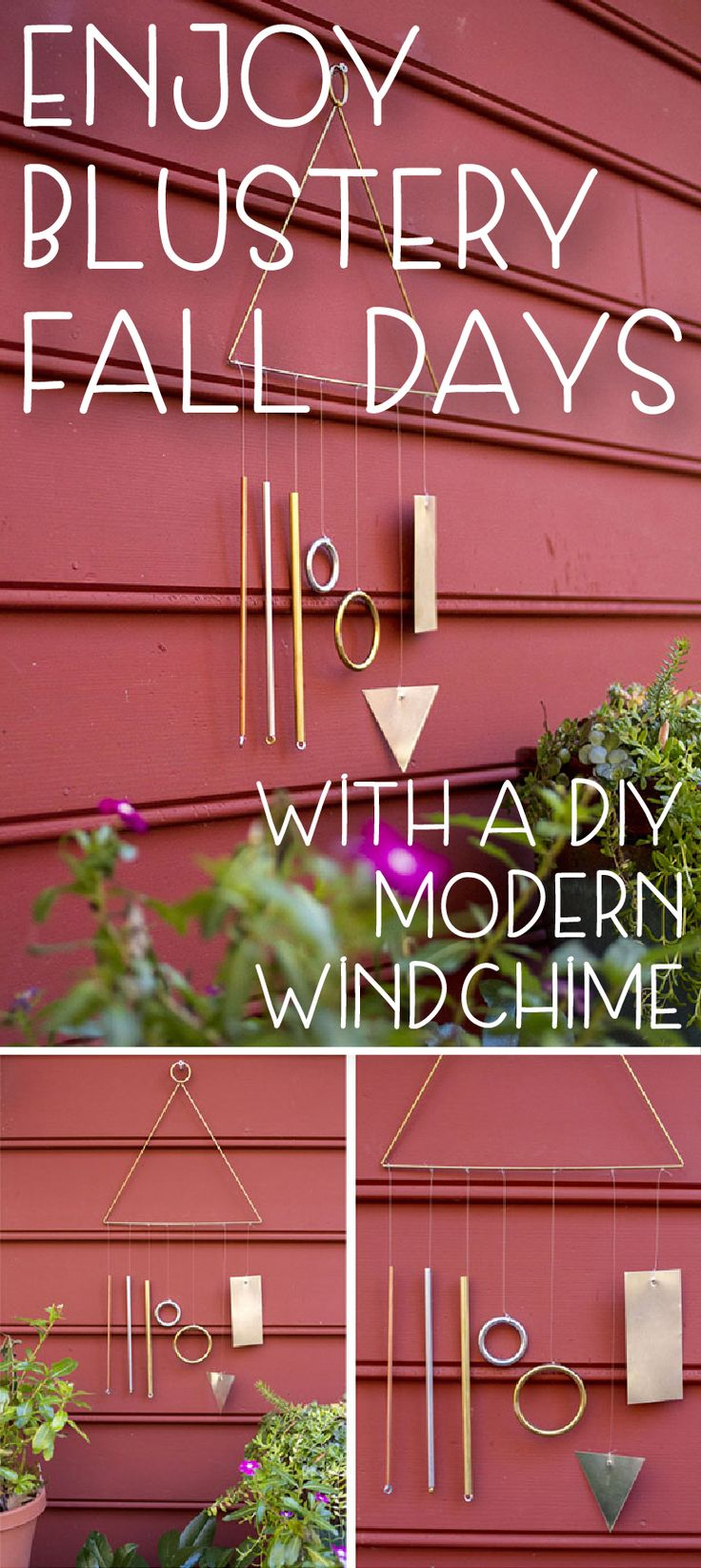 DIY wind chime! Enjoy the beautiful sounds of a breezy afternoon with a simple, modern wind chime. Instructions on how to make your own here:  http://www.ehow.com/ehow-home/blog/enjoy-blustery-fall-afternoons-with-a-diy-modern-wind-chime/?utm_source=pinterest&utm_medium=fanpage&utm_content=blog