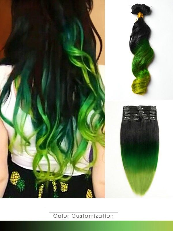 Mermaid Black to Green Dip Dye Ombre Indian Remy Clip In Human ...