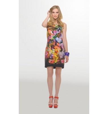 Εμπριμέ εξώπλατο φόρεμα σε στενή γραμμή, 1-303105  floral dress women's fashion