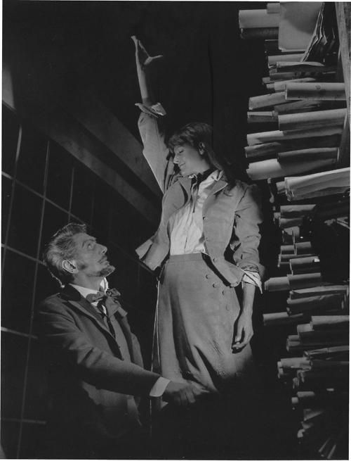 """Maggie Smith and Sir Michael Redgrave in Ibsen's """"The Master Builder"""", 1965"""