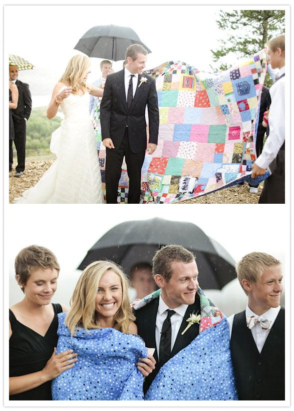 The bride and groom requested that their guests respond to the invitations with a piece of fabric- any fabric- and was incorporated into a quilt for the newlyweds to have for the rest of their lives