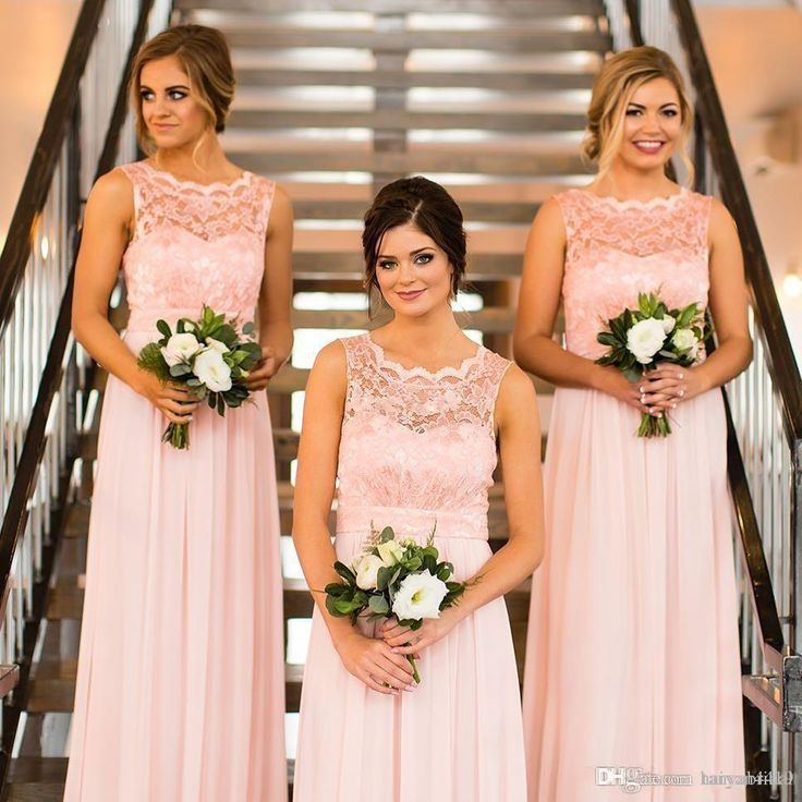 Pink Sheer Neck Bridesmaid Dresses Long Chiffon And Lace Cheap Wedding Guest Dresses Country Maid Of Honor Gowns Z-30 Bridesmaid Dresses Wedding Guest Dress Cocktail Gowns Online with $136.64/Piece on Tanyabridal's Store | DHgate.com