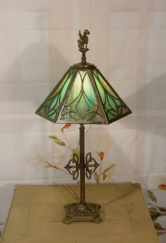 29 best slag glass lamps images on pinterest glass lamps tiffany antique vintage teal green slag glass shade table lamp light aloadofball Gallery