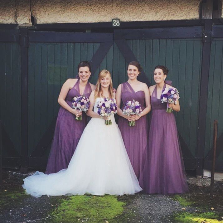 My beautiful bridesmaids and best friends! :) wearing the Annabelle dress by Jenny Yoo in soft plum from BHLDN, amazing flowers by Absolutely Flowers