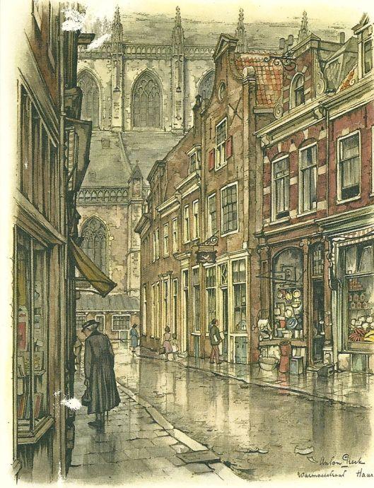 De Warmoesstraat met links boekwinkel van Vernout
