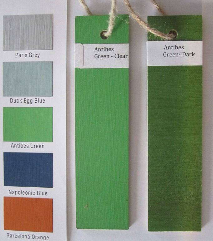 Showing the effects of the Annie Sloan Clear and Dark Waxes on Annie Sloan Chalk Paint™ Antibes Green.