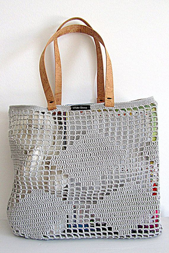 Fatto a mano borsa-Tote Light Grey CROCHET con manici di