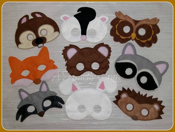 Felt Woodland Animal Mask Set of 9 Owl Raccoon Fox Skunk Wolf