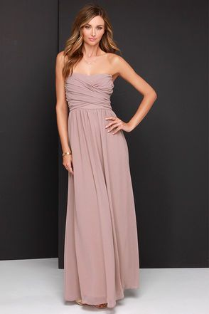 LuLu*s Exclusive! Be the center of attention and the queen of the scene in the Royal Engagement Strapless Taupe Maxi Dress! This soft chiffon maxi dress has elegant panels crisscrossing over a sweetheart bodice (with lightly padded cups), creating a gorgeous pairing with the long flowing maxi skirt that drapes from gathering at the waist. Hidden back zipper. Fully lined. 100% Polyester. Hand Wash Cold or Dry Clean. Made with Love in the U.S.A.