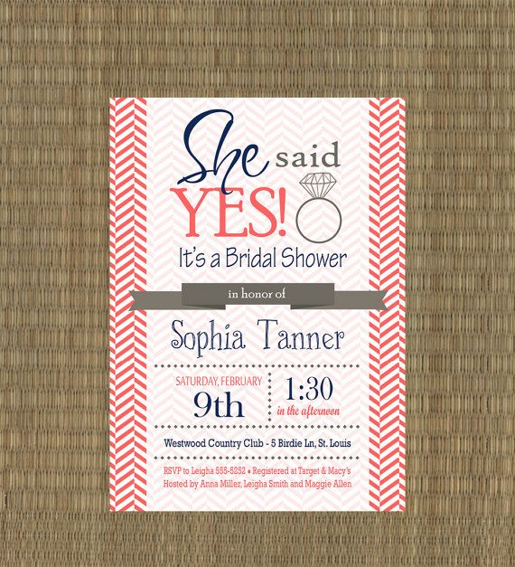 Printable Wedding Shower Invitations - Coral and Navy Chevron Bridal Shower Invites - Bridal Shower Engagement Ring Shower via Etsy