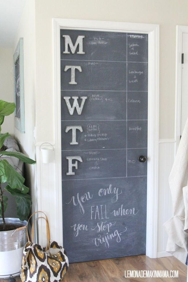 Weekday Chalkboard Calendar On One Full Side Of A Door Chalkboard Door Kitchen Chalkboard Chalkboard