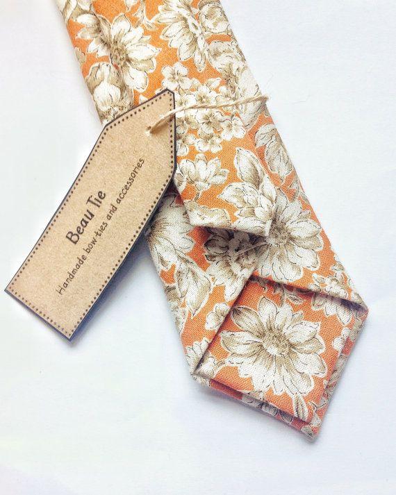 Mens skinny tie floral cotton, floral tie, mens necktie, wedding tie, groom tie, vintage wedding, menswear, mens fashion