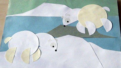Hiver : idée bricolage découpage pour enfants – Ours blancs sur la banquise