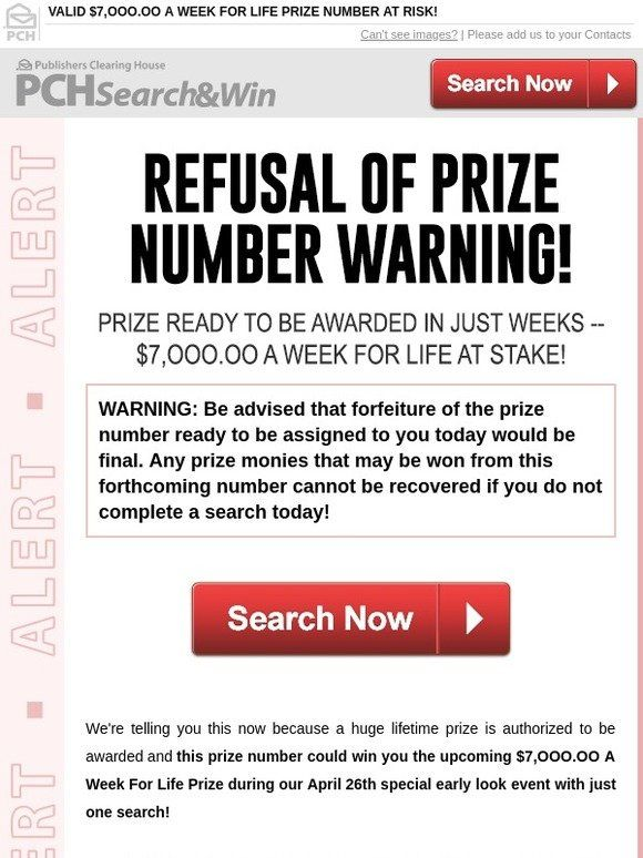Milled has emails from Publishers Clearing House, including new