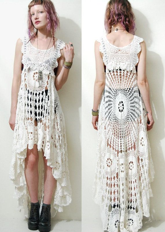 ☩BOHEMIAN CROCHET WHITE LACE DRESS    One of a kind dress made by Crux & Crow  Made with genuine vintage hand crocheted lace  Babydoll shape, loose