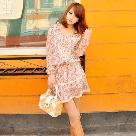 Floral tunic one-piece pink