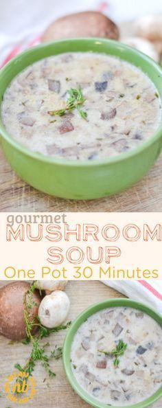 This mushroom soup is absolutely delicious! Featuring 2 kinds of mushrooms for a gourmet flavor. It is fast (under 30 minutes) to make and easy enough for the novice cook!  http://www.nelliebellie.com/gourmet-mushroom-soup/