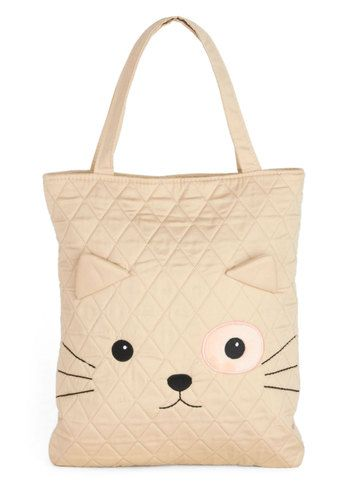 Cozy Mosey Tote by Kling - Black, Print with Animals, Quilted, International Designer, Cats, Cream, Kawaii, Travel, Quirky