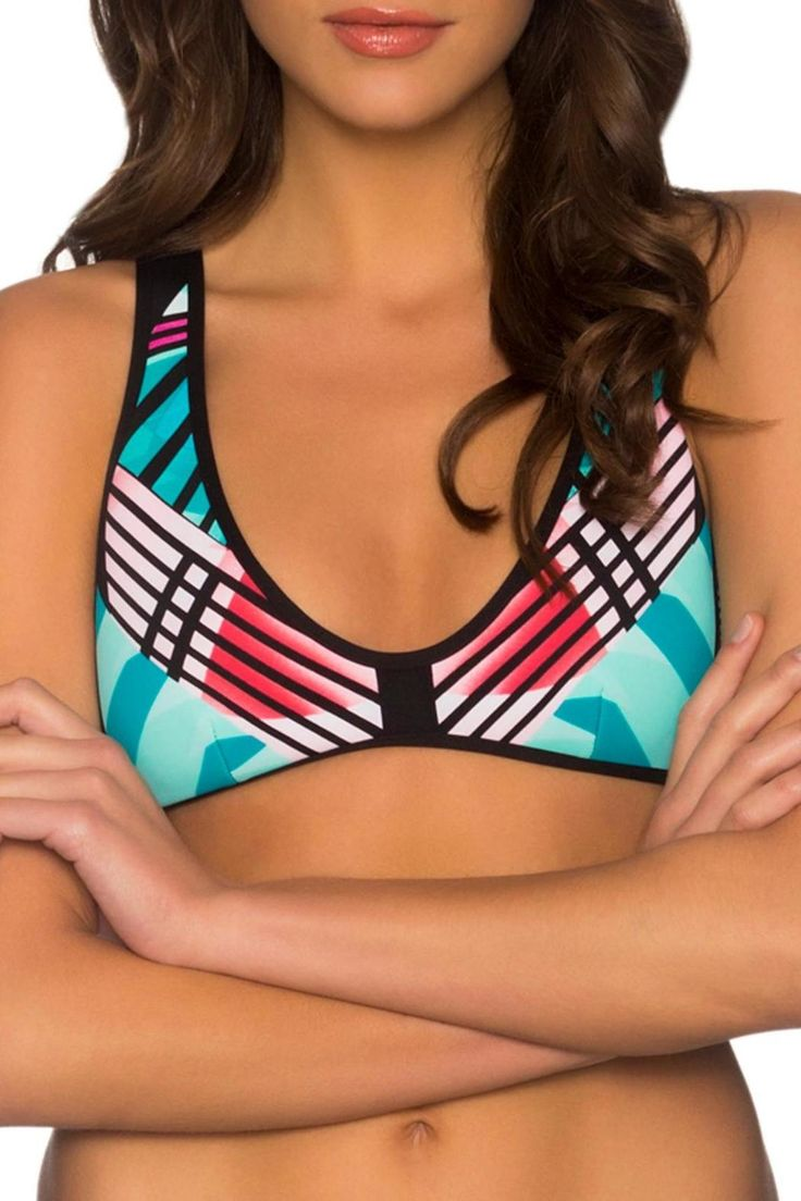 This beautiful top is made like a sports bra. I has no padding and no fasteners. It has a comfy fit and is a great top for swimming and water sports. XL=D-Cup. The companion bottom is Regatta L9.   Nova Topper by B. Swim. Clothing - Swimwear - Two-Piece Florida