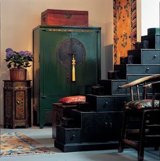 beautiful asian style,love the color and cabinet front design...