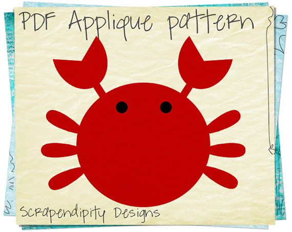 Crab Applique Template - Ocean Applique Pattern Quilt / Fabric Applique / Crab Shirt Applique / Kids Boys Clothing / Crab Iron on AP123-D