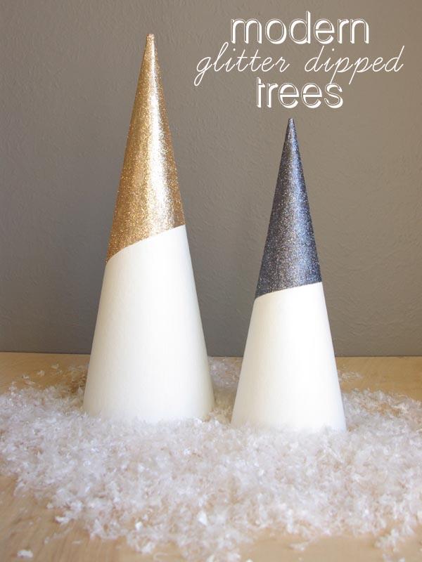 "Glitter Dipped Cardboard Trees ("",)"