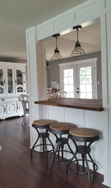 Rustic Barstools White Hutch Board And Batten Columns Walnut Butcher Block Countertop Island