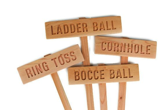 YARD GAME Signs, Party Signs, Wedding Game Sign, Family Reunion, BBQ , Bocce Ball, Croquet, Ring Toss, Cornhole, Sack Race, Bowling. $7.00, via Etsy.