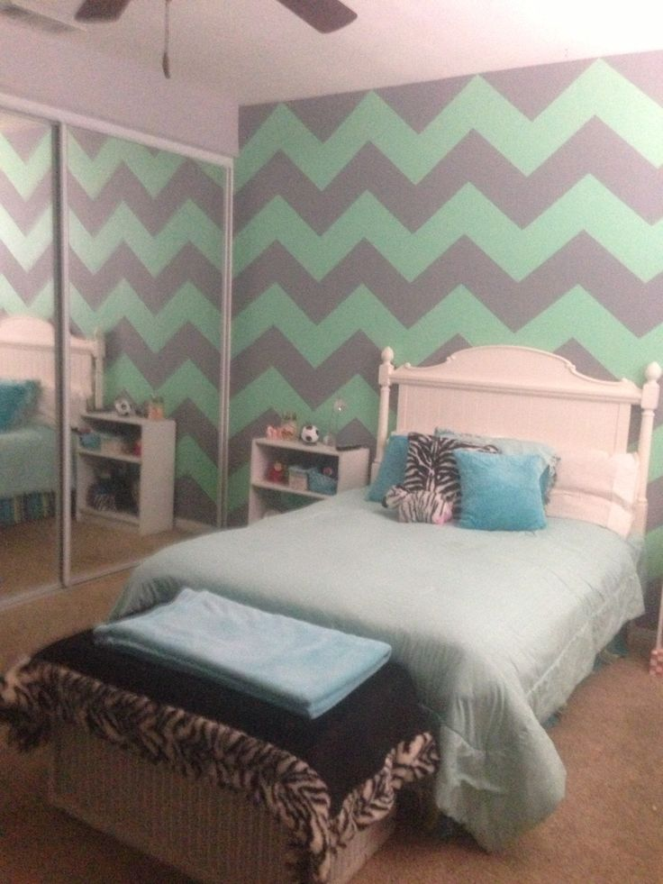 Mint green gray chevron walls home decor pinterest for Bedroom ideas green