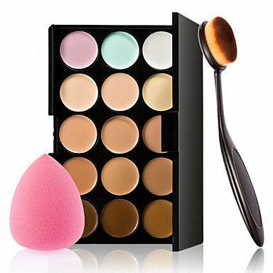 15 colori crema contorno trucco viso correttore palette + soffio spugna pennello polvere per fard correttore fondazione del 4932606 2017 a €9.59