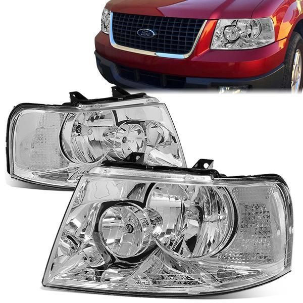 03 06 Ford Expedition Headlights Chrome Housing Clear Corner Ford Expedition Expedition Headlights