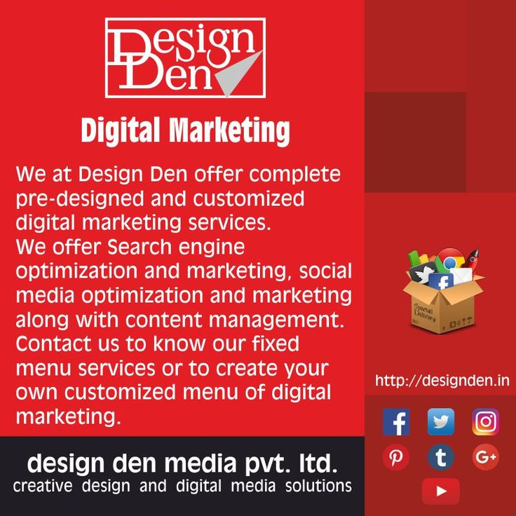 We at Design Den offer complete pre-designed and customized digital marketing services.  We offer Search engine optimization and marketing, social media optimization and marketing along with content management. Contact us to know our fixed menu services or to create your own customized menu of digital marketing.  #digitalmarketing #digitalindia #brandidentitydevelopment #visualgraphics #webdevelopment #displayadvertising #appdevelopment #kalyan #dombivli