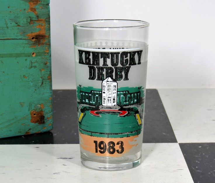 "1983 Kentucky Derby Mint Julep Glass . Churchhill Downs Triple Crown Winner ""Sunny's Halo"" . Official Harry M. Stevens by 13thStreetEmporium on Etsy"