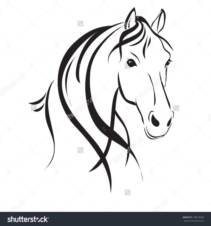 линия рисунок лошади , с головы на белом фоне