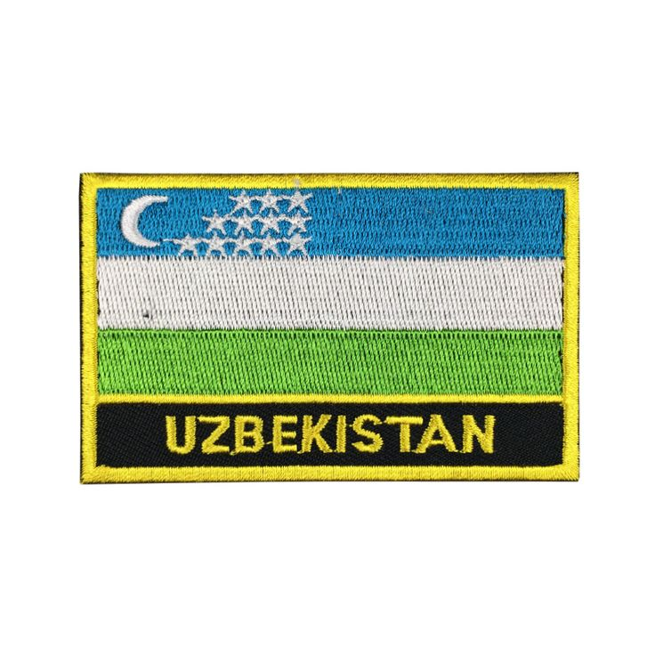 Uzbekistan Flag Patch Embroidered Patch Gold Border Iron On patch Sew on Patch Bag Patch meet you on www.Fleckenworld.com