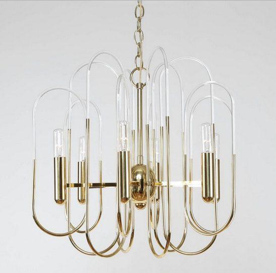 Gaetano Sciolari Brass And Glass Loop Chandelier 8 Lights