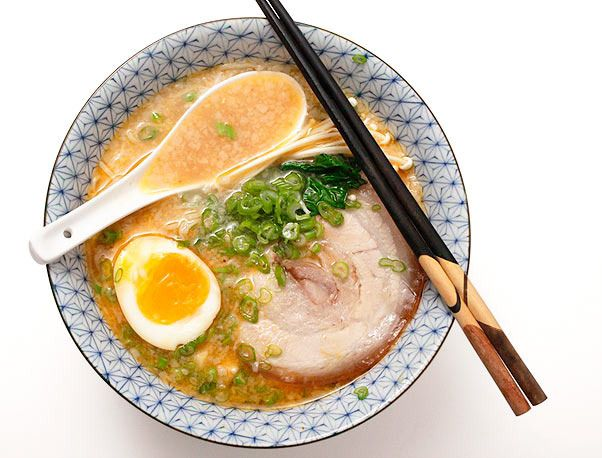 Rich and Creamy Tonkotsu Ramen Broth by J. Kenji López-Alt. This broth takes a full day or at least overnight to make. Plan accordingly. Unused broth can be stored in an airtight container in the refrigerator for up to three days or frozen for up to three months. This recipe is for the broth only. For a full meal, you will also need ramen-style noodles and toppings of your choice. Pictured toppings include preserved bamboo shoot, sliced braised pork belly, soft boiled marinated eggs, sliced…