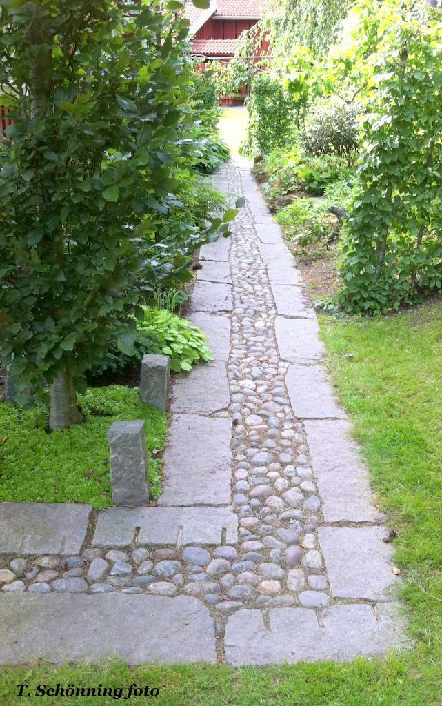 Inlaid stones in garden path