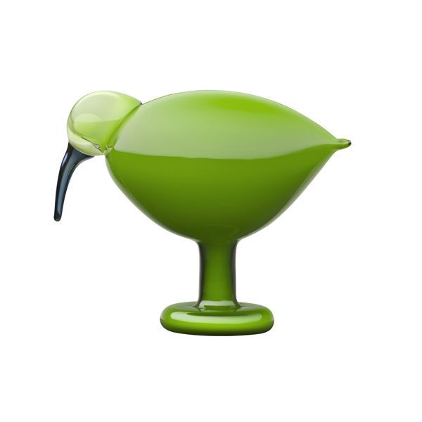 """Green Ibis"" glass figurine by Oliva Toikka (1931 - ), Iittala, Finland 2010"