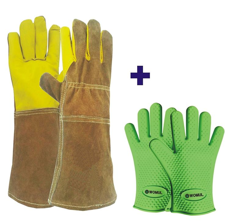 """After-Christmas & Year-End"" WOMUL Safety gloves set (1pair Animal Handling gloves + 1pair heat resistant bbq silicone gloves )"