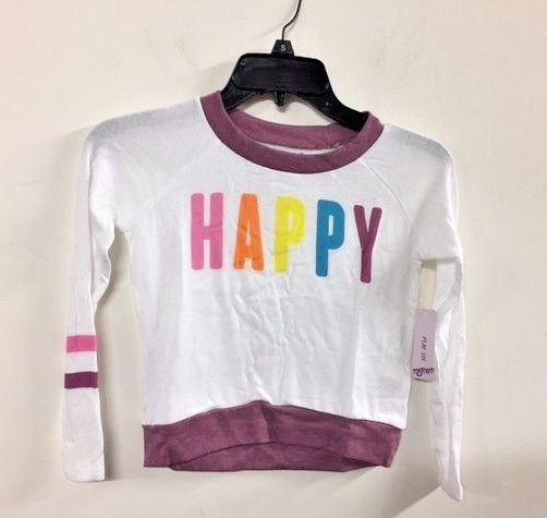 NWT PLAY SIX Girls Sweater sweatshirt White HAPPY 5-6 #PLAYSIX