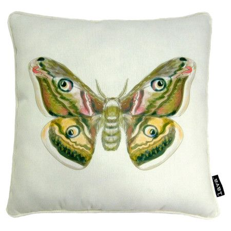 Add an eclectic touch to your favorite chaise or arm chair with this eye-catching pillow, showcasing a moth motif for natural appeal.  ...